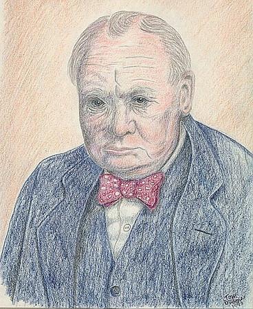 Churchill, 1993, color pencil, 8x10