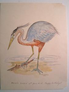 Blue Heron, B'day Card, 1992, watercolor, 9x12