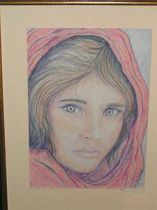 Afgan Girl, 2002, color pencil, 7 5x10 5