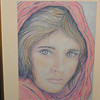 Afgan Girl, 2002, color pencil, 7 5x10 5