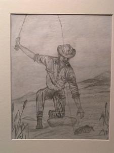Bass Landing, aug 23,1961, pencil, 8x10