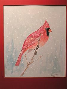 Cardinal, 1983, watercolor, 8 5x10