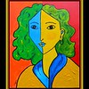 86.	Homage to Matisse-Portrait of Lydia #2. 11x14, acrylic on canvas panel, june 30, 2017.