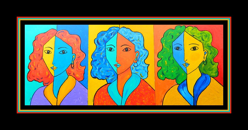 Homage to Matisse-Portraits of Lydia, 33x14, acrylic on canvas panel, july 3, 2017 DSCN01601-A