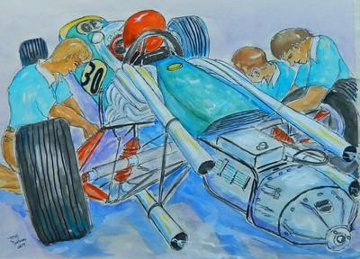 3.Formula One - Pit Stop, 12x16, watercolor & pen, jan 7, 2017