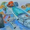 Formula One - Pit Stop, 12x16, watercolor & pen, jan 7, 2017DSCN97961
