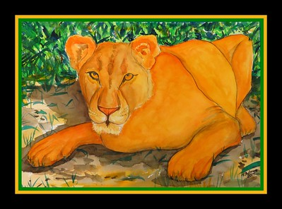 37.The Lioness, Hluhluwe-Imfolozi Game Reserve, Kwazulu-Natal, South Africa,  Oct 3, 2016.  11x15, watercolor, March 24. 2017