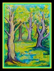 """36.""""The Trees' - Homage to Henri Manquin, 11x15, watercolor, March 22. 2017"""