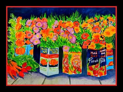 5.Flowers & Fruit Juice, 11x15, watercolor, jan 12, 2017.