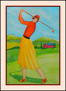 22.Fore! 11x15, watercolor, feb 15, 2017.