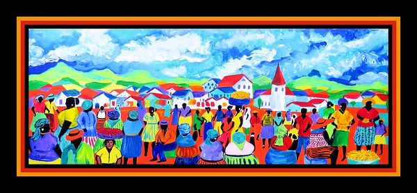42.Market Day - Swaziland, 14x37, acrylic on canvas, april 14, 2017.