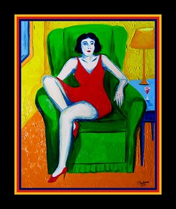 44.Girl in Red Dress - Homage to Matisse, 11x14, oil on canvas board, april 21, 2017.