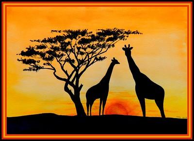 30.Giraffe Sunset, 10x14, watercolor, march 4, 2017