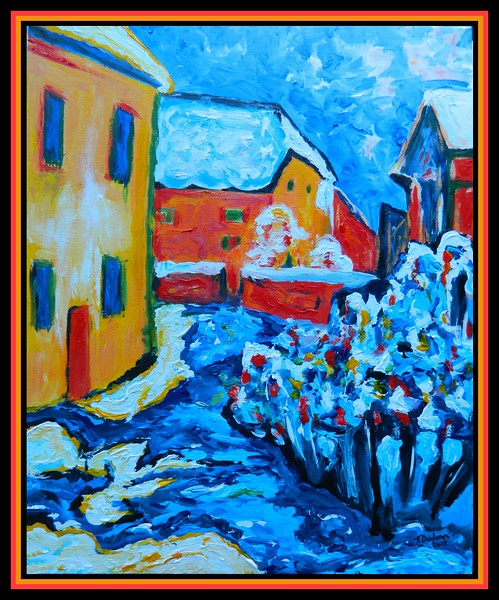 1-Homage to Wassily Kandinsky - Cemetery and Vicarage in Kochel, 1909. 16x20, acrylic on canvas panel, dec 14, 2017.DSCN01611.jpg