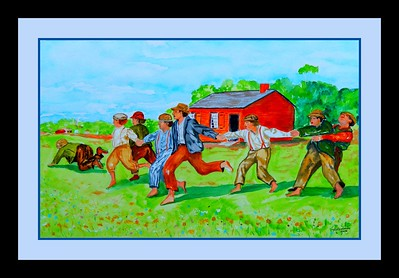 2.Homage to Winslow Homer - Snap the Whip, 14x22, watercolor, jan 6, 2017