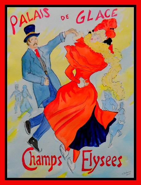 96.Homage to Jules Cheret - Palais de Glace #3, 12x16, watercolor & ink, july 21, 2017.