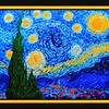 91.	Homage to Van Gogh - Starry Night, 16x20, acrylic on canvas board, july 13, 2017.