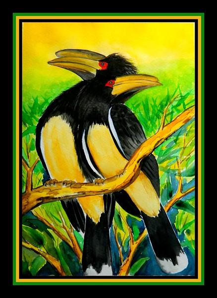1-Trumpeter Hornbills, Victoria Falls, Zimbabwe, 11x15, watercolor, apr 29, 2017 DSCN99661