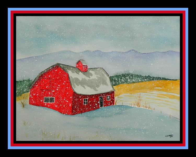 6 12 2017 - Spring Snow, 12x16, watercolor, june 12, 2017 DSCN0091a1