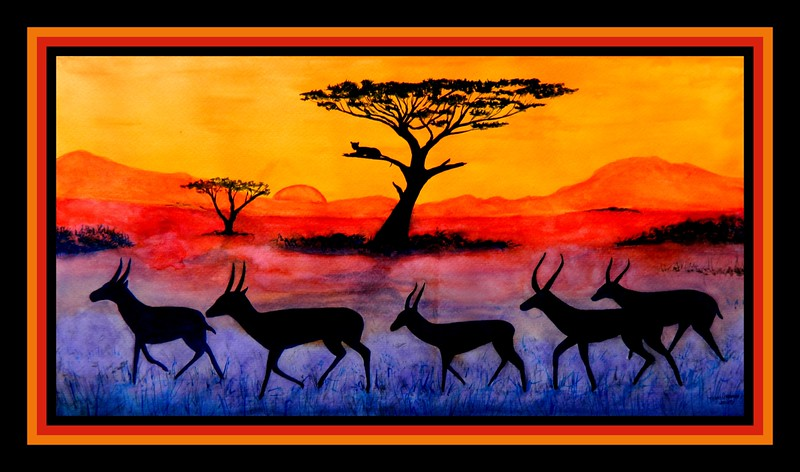 1-Springboks Sunset, 12x23, watercolor, june 4, 2017 DSCN00521