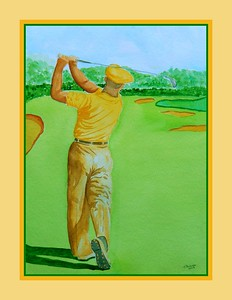 23.Ben Hogan, 1950 U.S. Open, Merion GC, Ardmore, PA,11x15, watercolor, feb 18, 2917