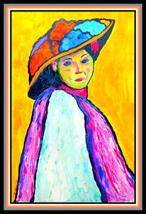 18.Homage to Gabriele Munter, Portrait of Marianne Werefkin, 1909 - 12x18, acrylic on paper, feb 18, 2021.