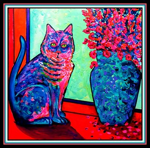 10.Cat at the Window, 12x12, acrylic on paper, jan 19, 2021