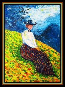 34.Homage to Wassily Kandinsky, Kochel, Gabriele Munter, 12x16, acrylic on canvas, apr 2, 2021.
