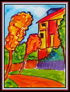 28.The Yellow House #3, 4.5x6, watercolor, march 17, 2021.