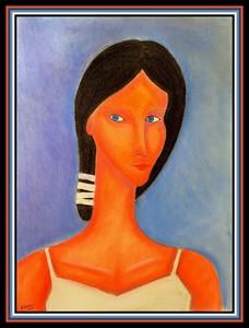 31.Homage to Roman Zakrzewski, ,Girl in White - 18x24, pastel on paper, march 23, 2021.