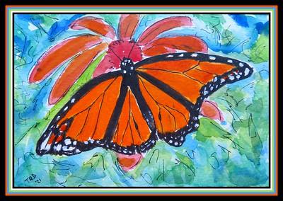 35.Monarch, 5x7, watercolor, acrylic, ink, april 6, 2021.