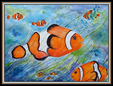 12.Clown Fish, 12x12, watercolor & ink, jan 22, 2021.. to Trudy Kyler's grandson, Denver, CO.