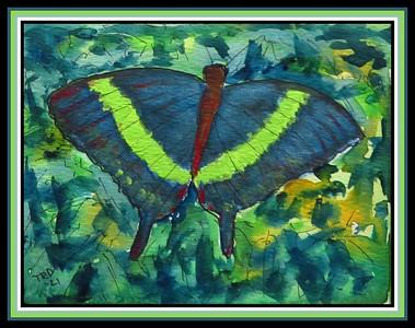 42.Emerald-Swallowtail-SE Asia, 4.5x6, watercolor, acrylic & ink, april 12, 2021.