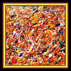11.Abstract #1, Chaos - 12x12, acrylic on hardboard, jan 20, 2021.