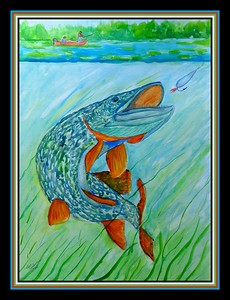 33.Northern Pike, 18x24, watercolor & ink on paper, march 30, 2021.