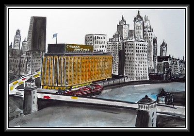 13.Chicago, Sun-Times on the River, 12x18, watercolor, marker & ink, feb 1, 2021.