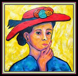 19.Woman with Red Hat, 12x12, acrylic on paper, feb 21, 2021.