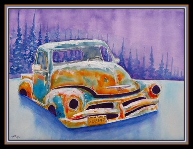 20.1954 Chevy Pick-up, 11x15, watercolor & acrylic on paper, feb 23, 2021.
