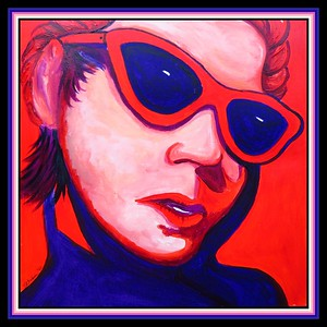 2.Girl with Red Sunglasses, 12x12, acrylic on paper, jan 5, 2021.
