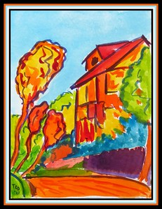 27.The Yellow House #2, 4.5x6, watercolor, march 17, 2021.