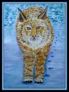 6.Bobcat in Winter, 11x15, watercolor, acrylic & ink, jan 13, 2021.