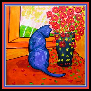 8.Blue Cat With Flowers, 12x12, acrylic on paper, jan 15, 2021.