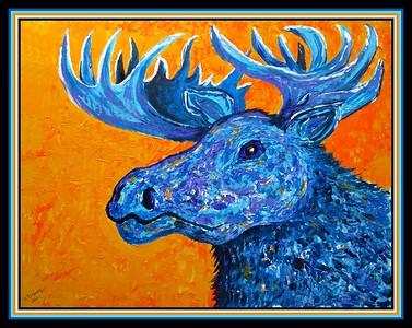 21.Blue Moose, 16x20, acrylic on cardboard, feb 27, 2021.