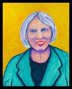 16.Lady in Blue, 16x20 acrylic on cardboard, feb 13, 2021.