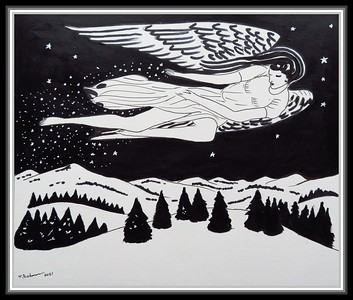 3. Homage to Rockwell Kent, Christmas Angel - 9.75x12, acrylic and ink on paper, jan 6, 2021.