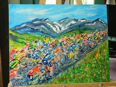 Finished. Tour de France, Col du Galibier, 16x20, oil & acrylic, finished july 12, 2012.