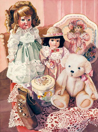 """<h2> Dona's Dolls </h2> <b>SOLD</b> --- 30"""" x 22"""" Pure Transparent Watercolor"""