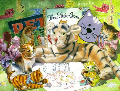 """<h2> Cat Sonnet </h2> <b>SOLD</b> --- 22"""" x 30"""" Pure Transparent Watercolor"""