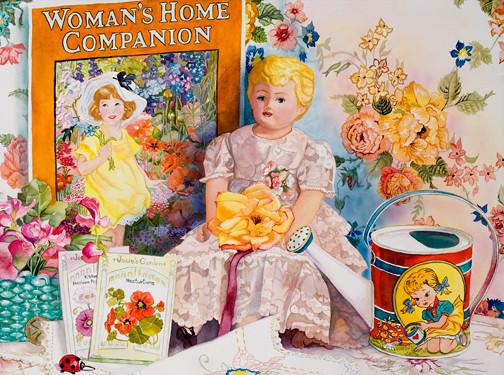"<h2> Josie's Garden </h2> 22' x 30"" Gift,    Pure Transparent Watercolor"