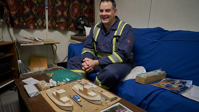 Chief's passion Raised in a family of Lake Erie fishers, the chief engineer has a passion for Lake Erie tugs. He is showing off his current commissioned models in progress.